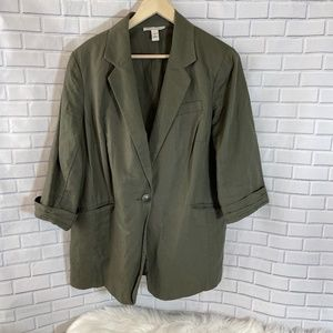 Kenneth Cole Olive Green Linen Blend Blazer Sz 16